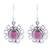 Garnet dangle earrings, 'Gleaming Bloom' - Gleaming Garnet Dangle Earrings Crafted in India (image 2a) thumbail