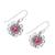 Garnet dangle earrings, 'Gleaming Bloom' - Gleaming Garnet Dangle Earrings Crafted in India (image 2c) thumbail