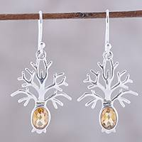 Citrine dangle earrings, 'Budding Tree' - Tree-Shaped Citrine Dangle Earrings from India
