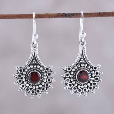 Garnet dangle earrings, 'Gemstone Flowers' - Handmade Garnet Dangle Earrings from India