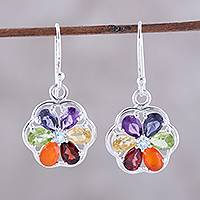Multi-gemstone dangle earrings, 'Chakra Flowers' - Multi-Gemstone Chakra Dangle Earrings from India