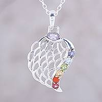 Multi-gemstone pendant necklace, 'Natural Chakra' - Multi-Gemstone Chakra Pendant Necklace from India