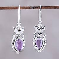 Amethyst dangle earrings, 'Passion Blooms' - Teardrop Amethyst and Sterling Silver Dangle Earrings