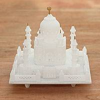 Marble sculpture, 'Taj Mahal Grandeur' - Hand Carved Taj Mahal Mini Replica Marble Sculpture