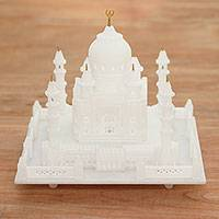 Marble sculpture, 'Taj Mahal Grandeur' (8 inch) - Hand Carved Taj Mahal Mini Replica Marble Sculpture (Large)