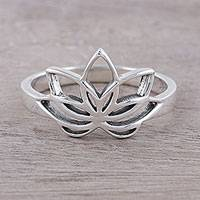 Sterling silver cocktail ring, 'Graceful Lotus' - Sterling Silver Lotus Flower Cocktail Ring from India