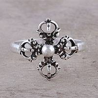 Sterling silver cocktail ring, 'Compass Rose' - Sterling Silver Openwork and Dot Motif Flower Cocktail Ring