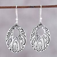 Sterling silver dangle earrings, 'Elaborate Ellipse' - Sterling Silver Openwork Elliptical Dangle Earrings