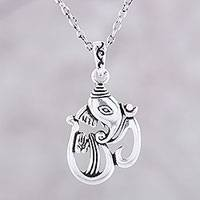 Sterling silver pendant necklace, 'Artistic Om Ganesha' - Sterling Silver Ganesha as Om Pendant Necklace from India