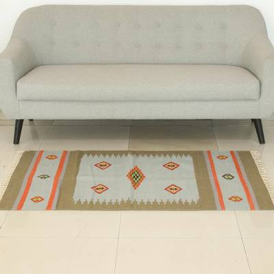 Wool dhurrie rug, 'Creative Fusion' (3x5) - Handwoven Wool Dhurrie Rug from India (3x5)