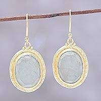 Gold plated prehnite dangle earrings, 'Golden Frame' - 22k Gold Plated Prehnite Dangle Earrings from India