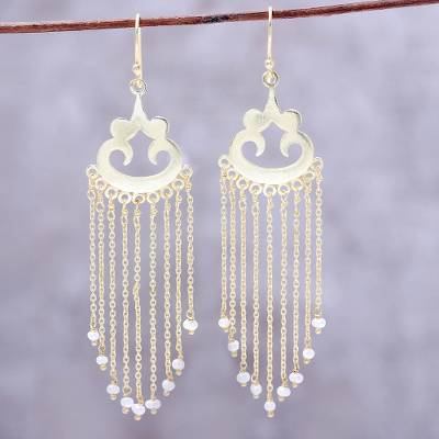 Gold plated cultured pearl waterfall earrings, 'Glowing Rain' - Gold Plated Cultured Pearl Waterfall Earrings from India