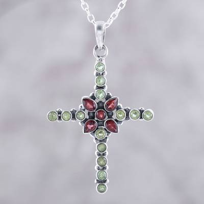 Garnet and peridot pendant necklace, 'Glistening Cross' - Peridot and Garnet Cross Pendant Necklace from India