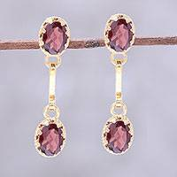 Gold plated garnet dangle earrings 'Dazzling Twins' - Gold Plated Garnet Dangle Earrings from India