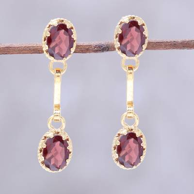 Gold plated garnet dangle earrings Dazzling Twins