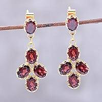 Gold plated garnet dangle earrings, 'Regal Dance' - 22k Gold Plated 10-Carat Garnet Dangle Earrings from India