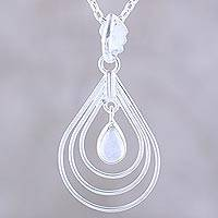 Rainbow moonstone pendant necklace, 'Magical Drop' - Natural Rainbow Moonstone Pendant Necklace from India