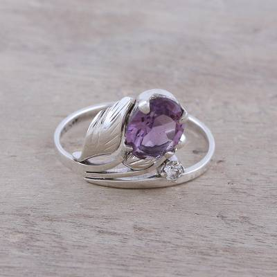Amethyst cocktail ring, 'Lavender Charm' - 2.5-Carat Amethyst Cocktail Ring from India
