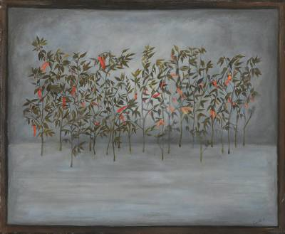 'Chili Garden' - Signed Surrealist Painting of Chili Plants from India