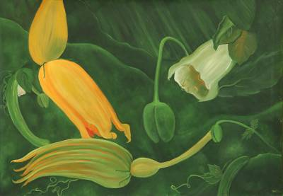 'Nature's Delight' - Signed Nature-Themed Painting of Flowers from India