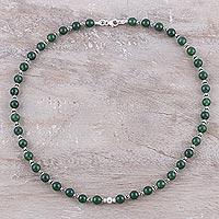 Onyx beaded necklace, 'Beaded Beauty' (India)