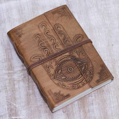 Leather journal, 'Hamsa' - Handcrafted Hamsa Motif Embossed Brown Leather Journal