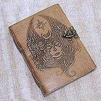 Leather journal, 'Meditating Shiva' - Light Brown Leather Journal with Embossed Image of Shiva