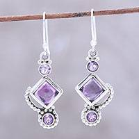 Amethyst dangle earrings, 'Beauty of the Heavens' - Amethyst and Sterling Silver Dangle Earrings from India