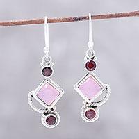 Garnet and chalcedony dangle earrings,