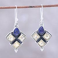 Citrine and lapis lazuli dangle earrings, 'Golden Ocean' - Citrine and Lapis Lazuli Dangle Earrings Handmade in India