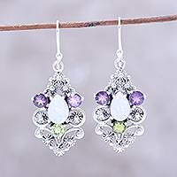 Multi-gemstone dangle earrings, 'Sparkling Glory' - Sparkling Multi-Gemstone Dangle Earrings from India