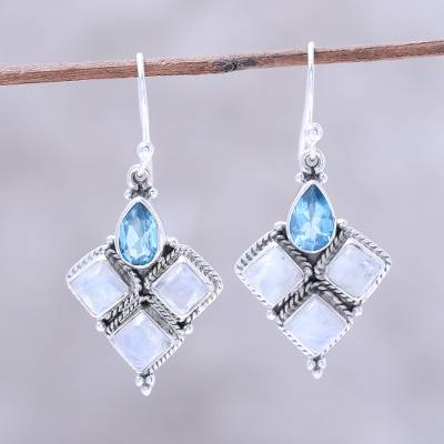 Rainbow moonstone and blue topaz dangle earrings, Morning Delight