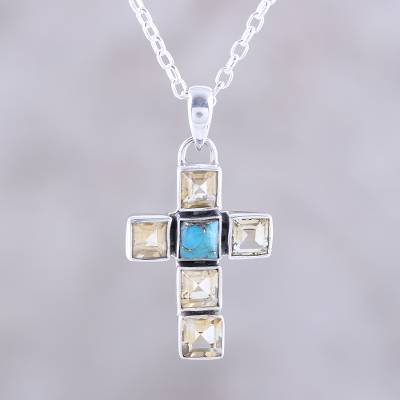Citrine pendant necklace, 'Golden Faith' - Citrine and Composite Turquoise Cross Necklace from India