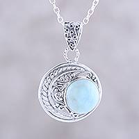 Larimar pendant necklace, 'Crescent Elegance' - Crescent Motif Larimar Pendant Necklace from India