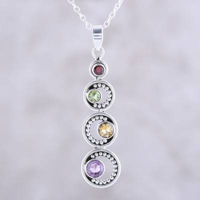 Multi-gemstone pendant necklace, 'Dancing Crescents' - Crescent Motif Multi-Gemstone Pendant Necklace from India