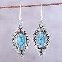Citrine dangle earrings, 'Ocean in Sunlight' - Citrine and Composite Turquoise Earrings from India