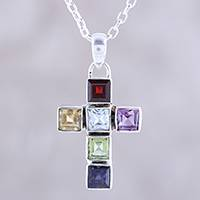Multi-gemstone pendant necklace, 'Dazzle with Faith' - Multi-Gemstone Cross Pendant Necklace from India