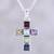 Multi-gemstone pendant necklace, 'Dazzle with Faith' - Multi-Gemstone Cross Pendant Necklace from India thumbail