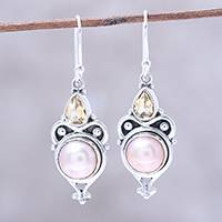 Cultured pearl and citrine dangle earrings, 'Pink Moon Sparkle' - Pink Cultured Pearl and Citrine Dangle Earrings from Citrine