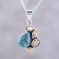 Citrine pendant necklace, 'Golden Fusion' - Citrine and Composite Turquoise Pendant Necklace from India