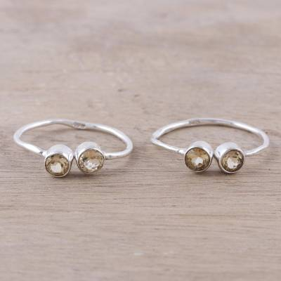 Citrine toe rings, 'Twin Elegance' - Sparkling Citrine Toe Rings Crafted in India