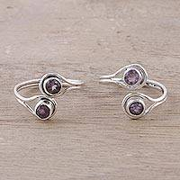 Amethyst toe rings, 'Lovely Trend' - Faceted Amethyst Toe Rings Crafted in India