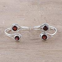 Garnet toe rings, 'Lovely Trend' - Faceted Garnet Toe Rings Crafted in India