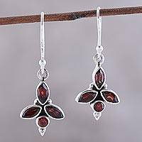 Garnet dangle earrings, 'Garnet Dazzle' - Faceted Marquise Garnet Dangle Earrings from India