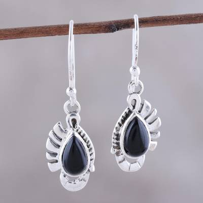 Onyx dangle earrings, 'Feather Bliss' - Teardrop Onyx Dangle Earrings Crafted in India