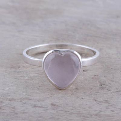 Rose quartz cocktail ring, 'Gemstone Heart' - Heart-Shaped Rose Quartz Cocktail Ring from India