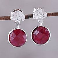 Ruby dangle earrings, 'Sparkle and Fire' - Faceted Ruby and Sterling Silver Dangle Earrings from India