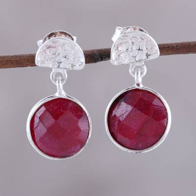 Ruby dangle earrings, Sparkle and Fire