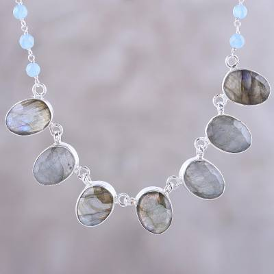 Labradorite and chalcedony pendant necklace, Enchanting Mystery