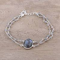 Labradorite pendant bracelet, 'Fascinating Egg' - Labradorite Link Pendant Bracelet from India